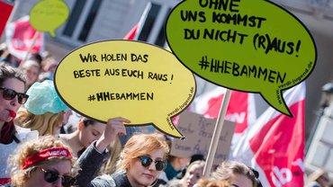 Warnstreik der Hamburger Hebammen am 21. April 2016