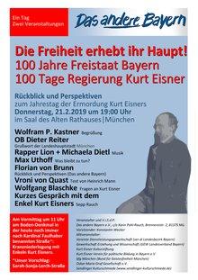 Veranstaltung zum 100. Todestrag von Kurt Eisner